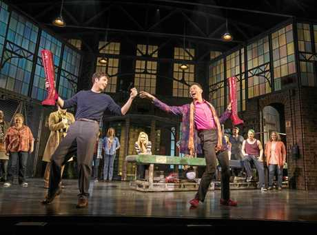 Toby Francis and Callum Francis in a scene from the stage musical Kinky Boots.