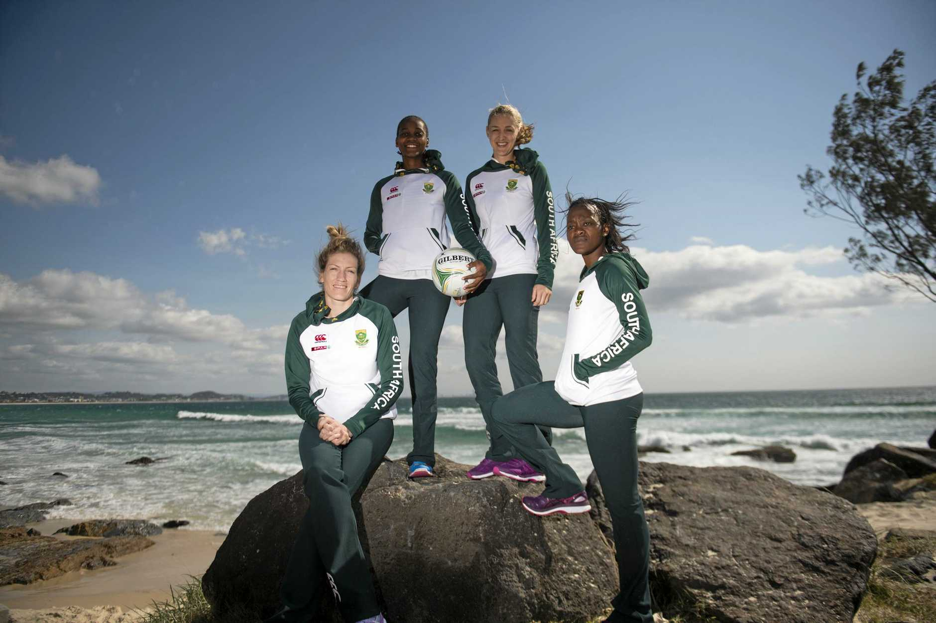 Karla Mostert, Precious Mthembu, Erin Burger and Bongiwe Msomi brave the wind at Coolangatta on Tuesday