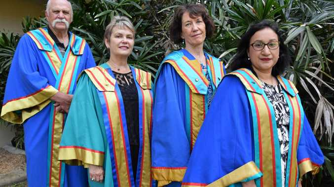 CQU PhD graduates ready for today's graduation ceremony and future challenges: Bruce Shuker (left), Susan Lancaster, Barbara O'Neill and Deepa Rijal.