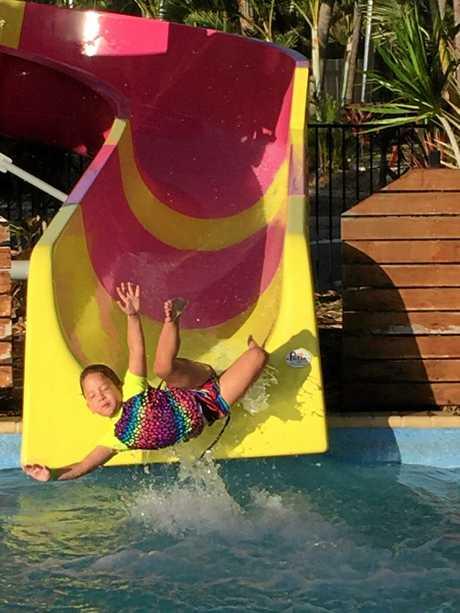 Saidee Whitcombe enjoys the facilities at Big 4 Capricorn Palms Holiday Village.