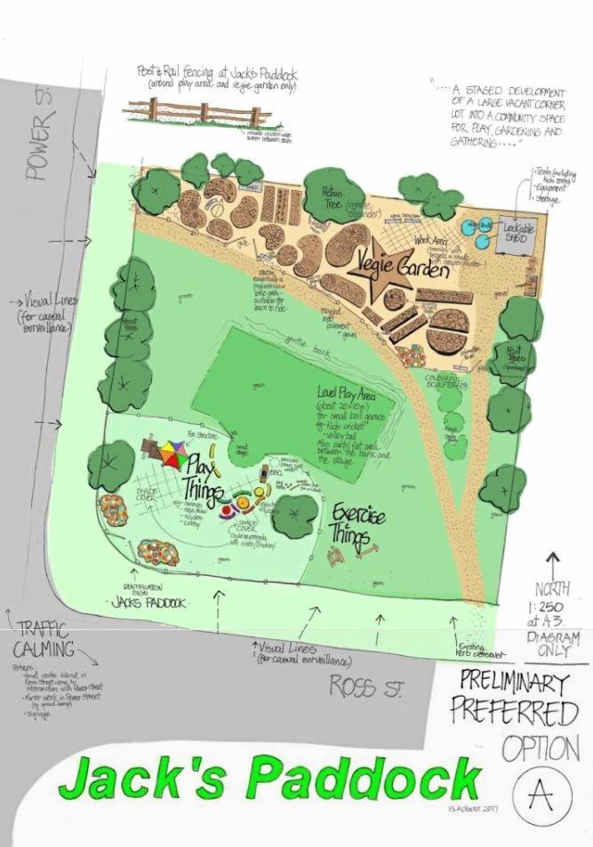 COMMUNITY SPACE: A draft design of Jack's Paddock community garden.