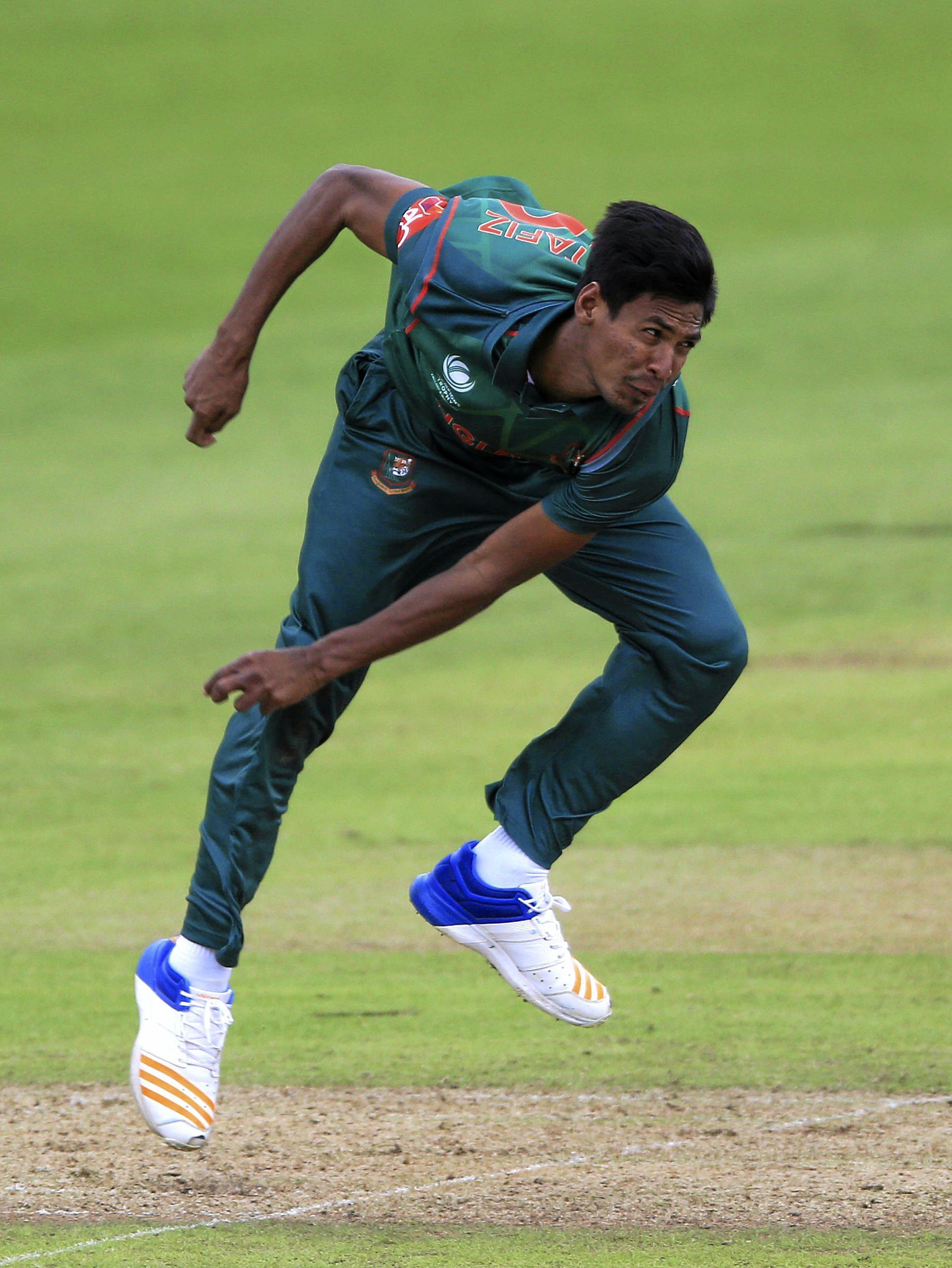 Bangladesh's Mustafizur Rahman bowls during the ICC Champions Trophy, Group A cricket match between New Zealand and Bangladesh, at Sophia Gardens, Cardiff, Wales, Friday June 9, 2017. (Nigel French/PA via AP)