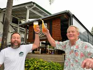 Eumundi Brewery head brewer Chris Sheehan and brewmaster Chuck Hahn celebrate the impending opening of Eumundi Brewery in Eumundi.