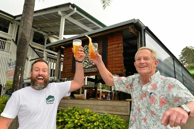 Eumundi Brewery head brewer Chris Sheehan and brewmaster Chuck Hahn celebrate the impending opening of Eumundi Brewery in Eumundi.