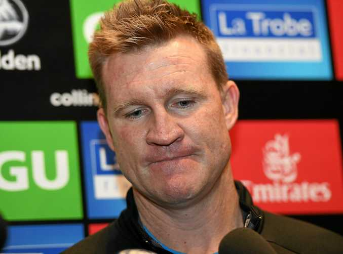 Magpies coach Nathan Buckley at the Holden Centre.