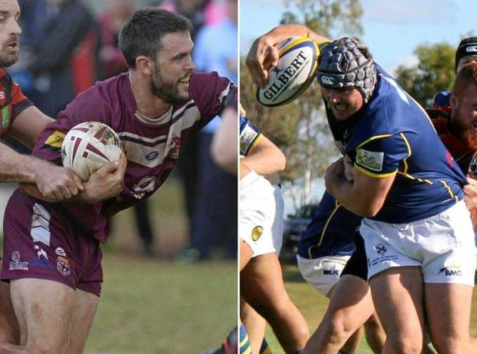 LEADING THE WAY: Dalby Diehards rugby league captain Colin Green and Dalby Wheatmen rugby union captain Sam Hogarth.