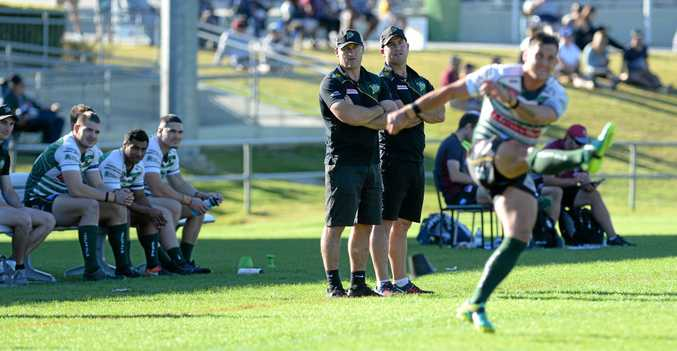 WATCHFUL EYES: Ipswich Jets co-coaches Ben and Shane Walker keep an eye on a goal attempt from Luke Capewell.
