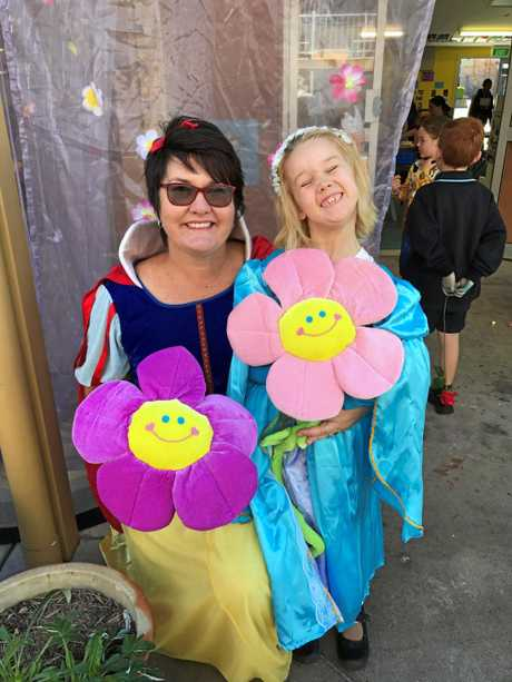 Trish Bade and Amelia Burns at St Mary's Primary's Prep Disney Theme day.