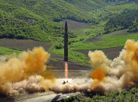 FILE - This file photo distributed by the North Korean government shows what was said to be the launch of a Hwasong-14 intercontinental ballistic missile, ICBM, in North Korea's northwest, Tuesday, July 4, 2017. Independent journalists were not given access to cover the event depicted in this photo. The strongest U.N. sanctions in a generation may still prove no match for North Koreas relentless nuclear weapons ambitions. Even in diplomatic triumph, the Trump administration is gambling that it has enough time to test if economic pressure can get Kim Jong Uns totalitarian government to end its missile advances and atomic weapons tests (Korean Central News Agency/Korea News Service via AP, File)