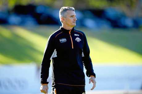 Wests Tigers coach Ivan Cleary looks on during a training session at Concord Oval in Sydney.