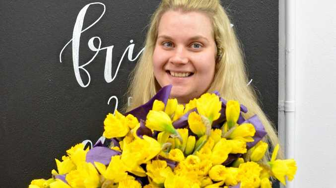 Gatton florist Rianna Krenske will generously donate all money raised from each bunch of daffodils sold for Daffodil Day.