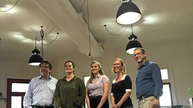 GENERATING POSITIVITY: Senator James McGrath with the Generator's Morgahna Godwin, Rebecca Corbett and Leslee Ryan and LNP Bundaberg candidate David Batt.