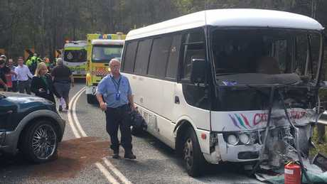The scene of the bus and 4WD crash in the Gold Coast Hinterland. Picture: Greg Stolz