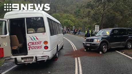 The bus and 4WD. Picture: Nine News Gold Coast/Twitter