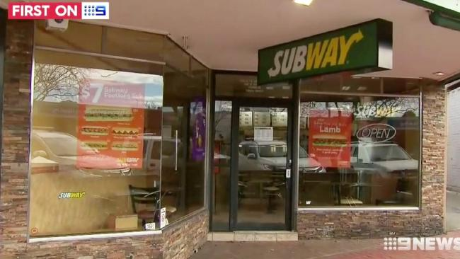 The Croydon subway store that was targetted by the couple in Melbourne. Picture: Channel 9Source:Channel 9
