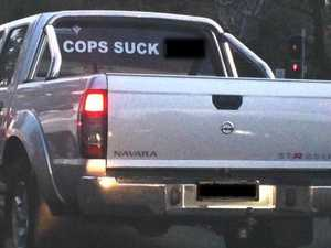 'Cops suck ****': Ute sticker shocks the country