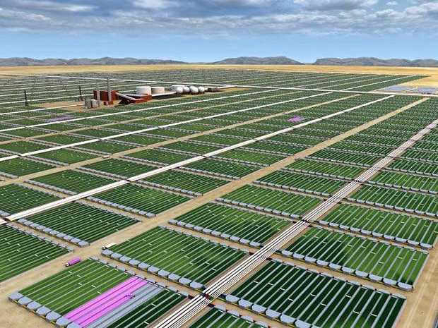 Concept design of an algae farm (note, this is not the design of the proposed Rockhampton project).