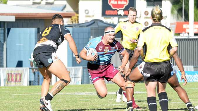 ONE OF A KIND: Gavin Hiscox strives for every metre at the Capras' home of Browne Park, in action against the Tweed Heads Seagulls.