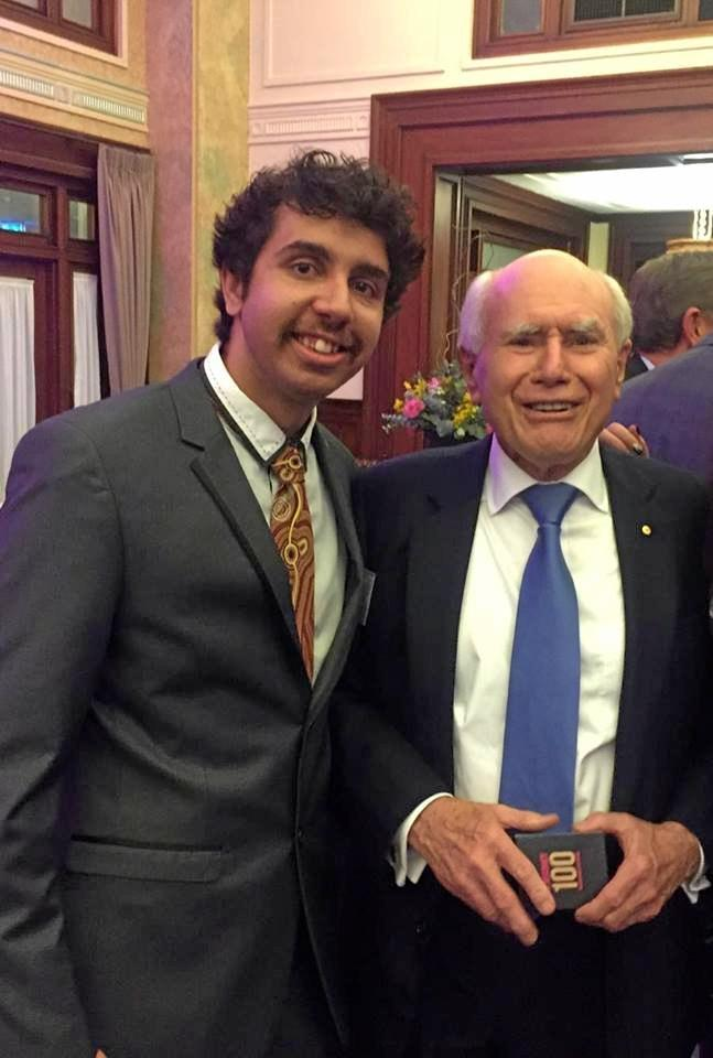Lane Brookes meeting former prime minister John Howard at the Democracy 100 event last week.