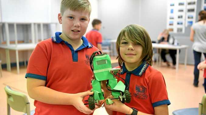 ROBOTICS: Sharon State School's Bryce Hedges and Dermott Chapman at the Bundaberg Secondary and Primary Robotics and Coding Challenge at CQUniversity Bundaberg.