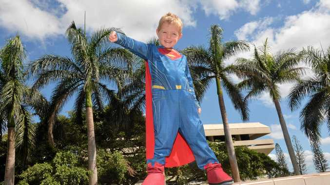 Super Man Caleb O'Neill made an appearance at the Book Week Picnic in the Park.