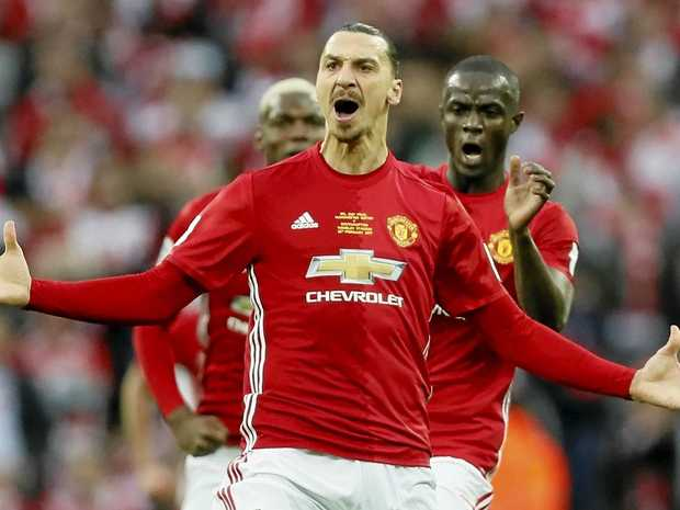 Manchester United's Zlatan Ibrahimovic celebrates after scoring in the English League Cup final in February.