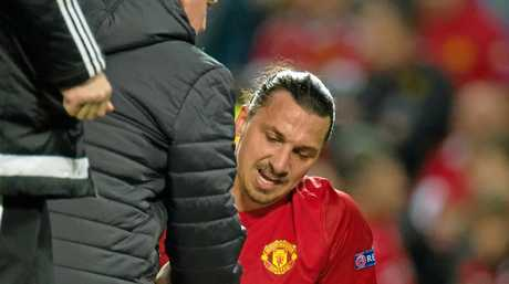 Manchester United's Zlatan Ibrahimovic reacts after picking up an injury during the UEFA Europa League quarter-final against Anderlecht in March.
