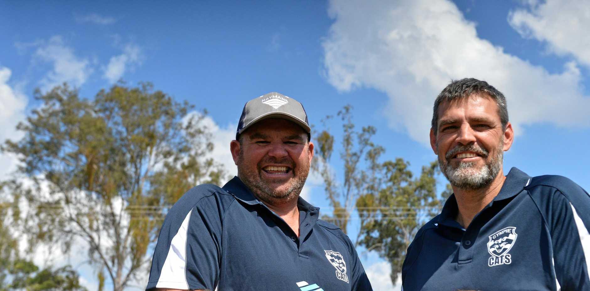 HOPEFULL: Junior Cats coaches Jason Bromilow and Price Hill.