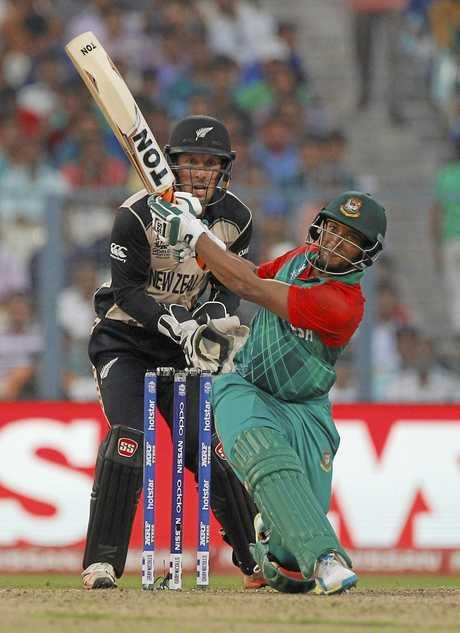 Bangladesh's Shakib Al Hasan bats against New Zealand during the ICC World Twenty20.