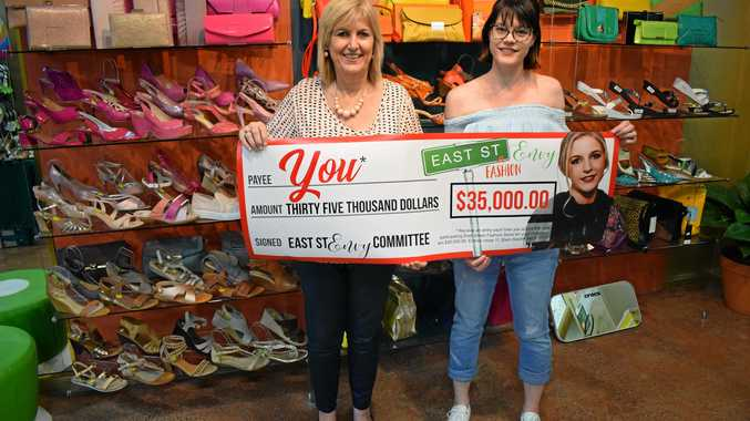 Owner of Shoes on East, Debbie Brine and owner of Soaked Swimwear Cassie Zieth are proud of their East St Fashion Envy incentive.