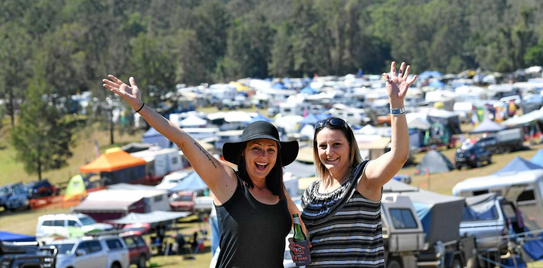 HAPPY CAMPERS: Heidi Jones and Renae Nawrocki.