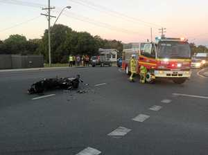 Car hits motorcyclist on Peak Downs Hwy