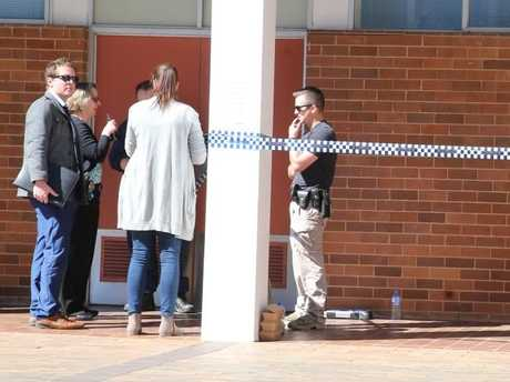 Police activity at Copeland GO32 classroom at ANU where the assault took place.