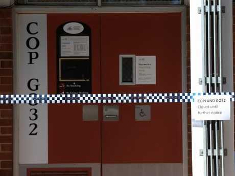 Police activity at Copeland GO32 classroom at ANU Canberra where an assault took place.