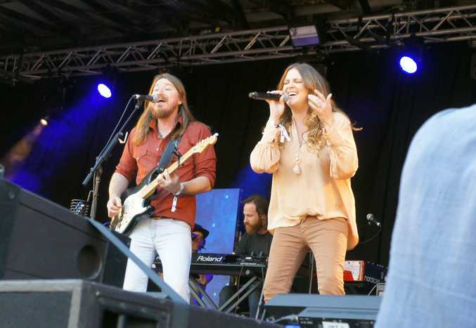 Adam Eckersley and Brooke McClymont perform together at the Gympie Muster.