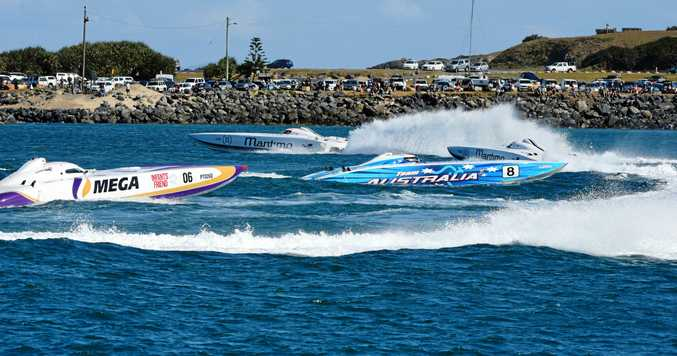 Maritimo's two boats lead the racing fleet during the third round of the Australian Offshore Superboats Championships in Coffs Harbour.