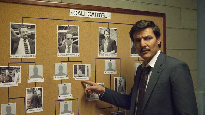 Pedro Pascal in a scene from season three of the TV series Narcos.