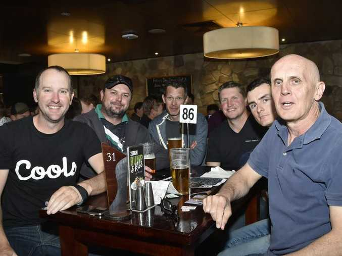 Group of fight fans (from left) Geoff Ryan, Pat Flanagan, Rob Hancocks, Terry Martell, Sam Carmody and Greg Carmody.Watching the Mayweather & McGregor fight at the Federal Hotel. August 2017