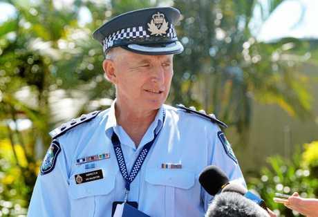 Inspector Ian Haughton speaking to media at McDonalds North Mackay
