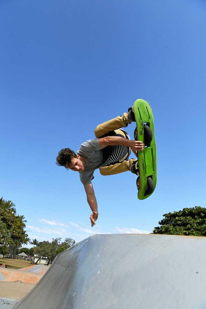 SWEET MOVES: Utah Rejtano letting loose at the Bargara skate bowl.