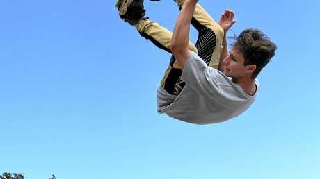 2WHEEL: Utah Rejtano letting loose at the Bargara skate bowl.
