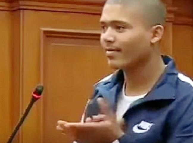 SERIAL KILLER: Cameron Wilson claps as his sentence is read out.