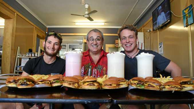 Cody Smith, Brett Williams and Drew Mooney ready to take on the CQ's Biggest Eater challenge at Tasty Things Takeaway in Gracemere.