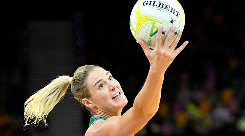 ENFORCER: Caitlin Bassett starred for Australia during the Netball Quad Series game against the England Roses played at the Brisbane Entertainment Centre in Brisbane on Saturday.