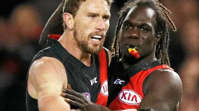ENOUGH: Heath Hocking  celebrates a goal with Essendon teammate Anthony McDonald-Tipungwuti   at Etihad Stadium.