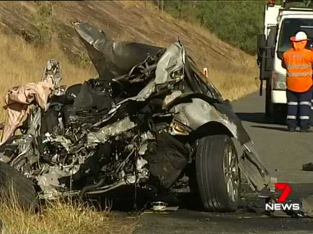 FATAL CRASH: The Centenary Hwy was closed for almost 10 hours after a fiery, head-on crash that claimed a man's life.