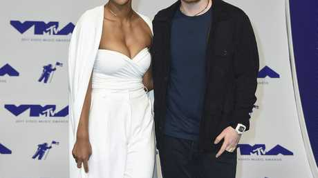 Jennie Pegouskie, left, and Ed Sheeran arrive at the MTV Video Music Awards at The Forum on Sunday, Aug. 27, 2017, in Inglewood, Calif.
