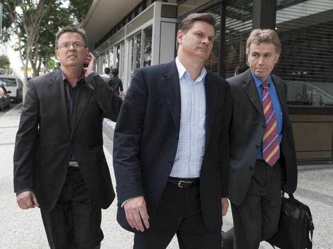 (L to R) Kleenmaid directors, brothers Andrew Young and Brad Young and their solicitor Peter Wright leave a creditors meeting into the collapsed company in Brisbane, Monday, May 25, 2009. Creditors of the Sunshine Coast-based appliance company voted to liquidate Kleenmaid today after the company was placed in voluntary administration.