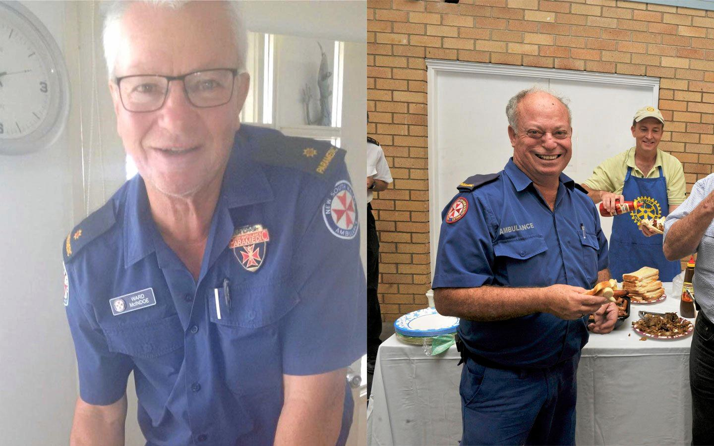 Recently retired paramedics Robert 'Ward' McIndoe (left) and Glenn Rice reflect on their extensive careers spanning a combined 85 years.