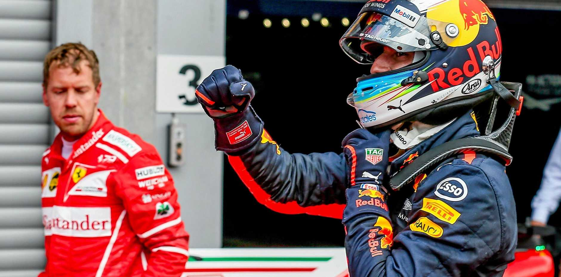 Daniel Ricciardo reacts after he finished third in the Belgium Formula One Grand Prix